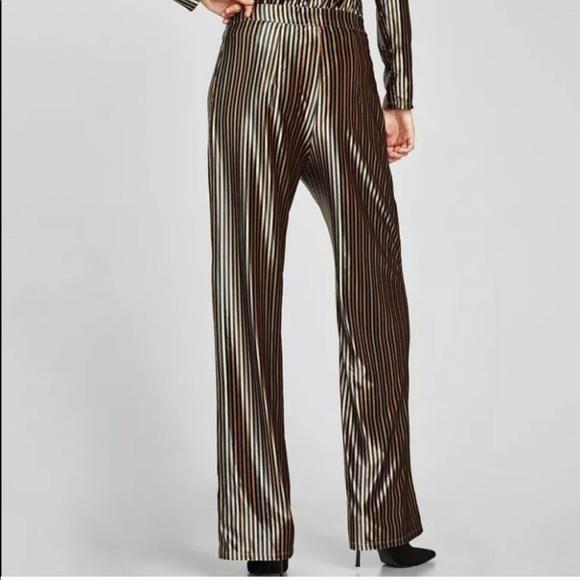 f07a5048100 Zara Pants | High Waist Striped Velvet Palazzo | Poshmark